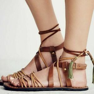 FREE PEOPLE Leather Boho Tie Up Strappy Sandal 7